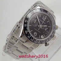 Luxury Brand parnis 39mm Black Dial ceramic Bezel Chronograph Sapphire Glass relogio masculino Quartz movement men's Watch