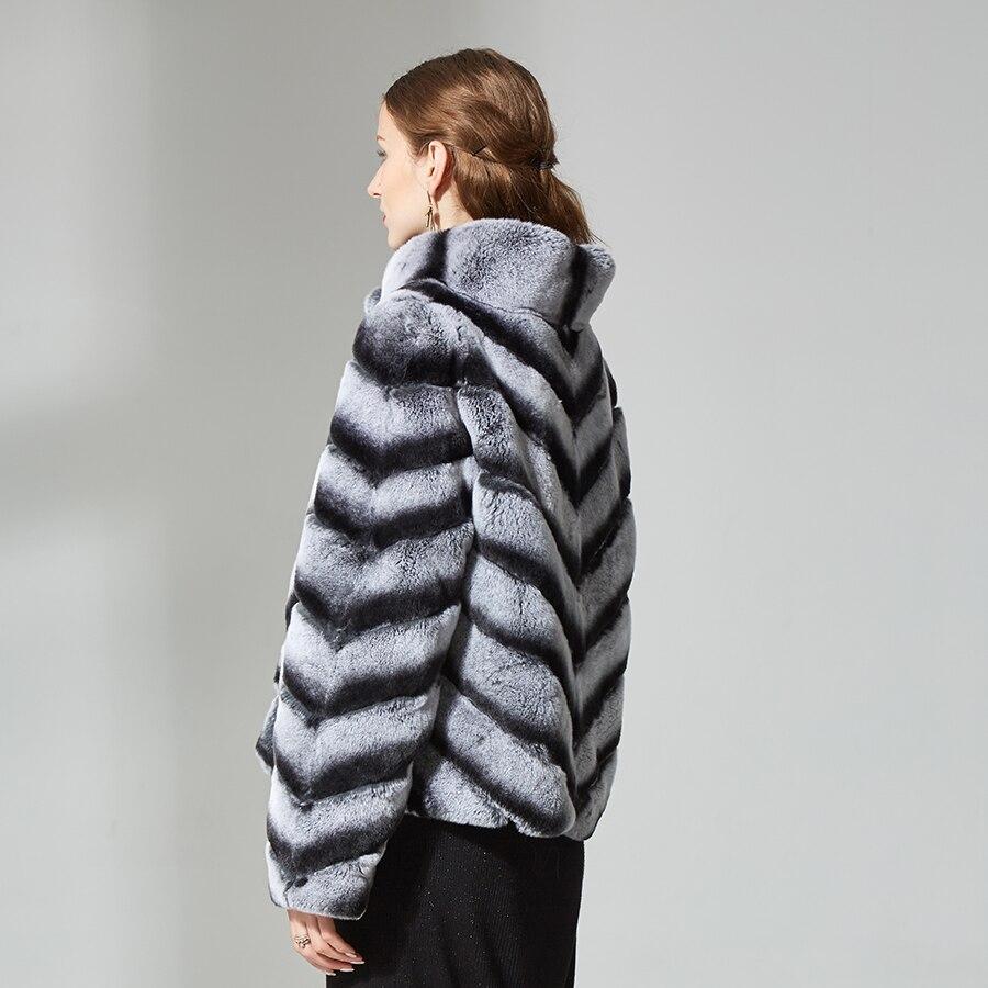 Lapin De Womenstriped Couleur Rex Col A Manteau D'hiver Beige Mince Pour Courte Montant Réel Veste Fourrure Vêtements Sortie 5t6zZwq