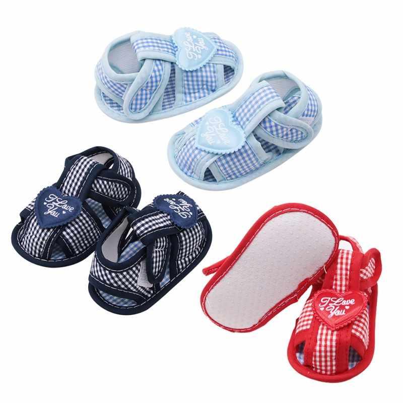 Verão bebê recém-nascido algodão menina oco impresso macio-sola sandálias princesa sapatos de bebê