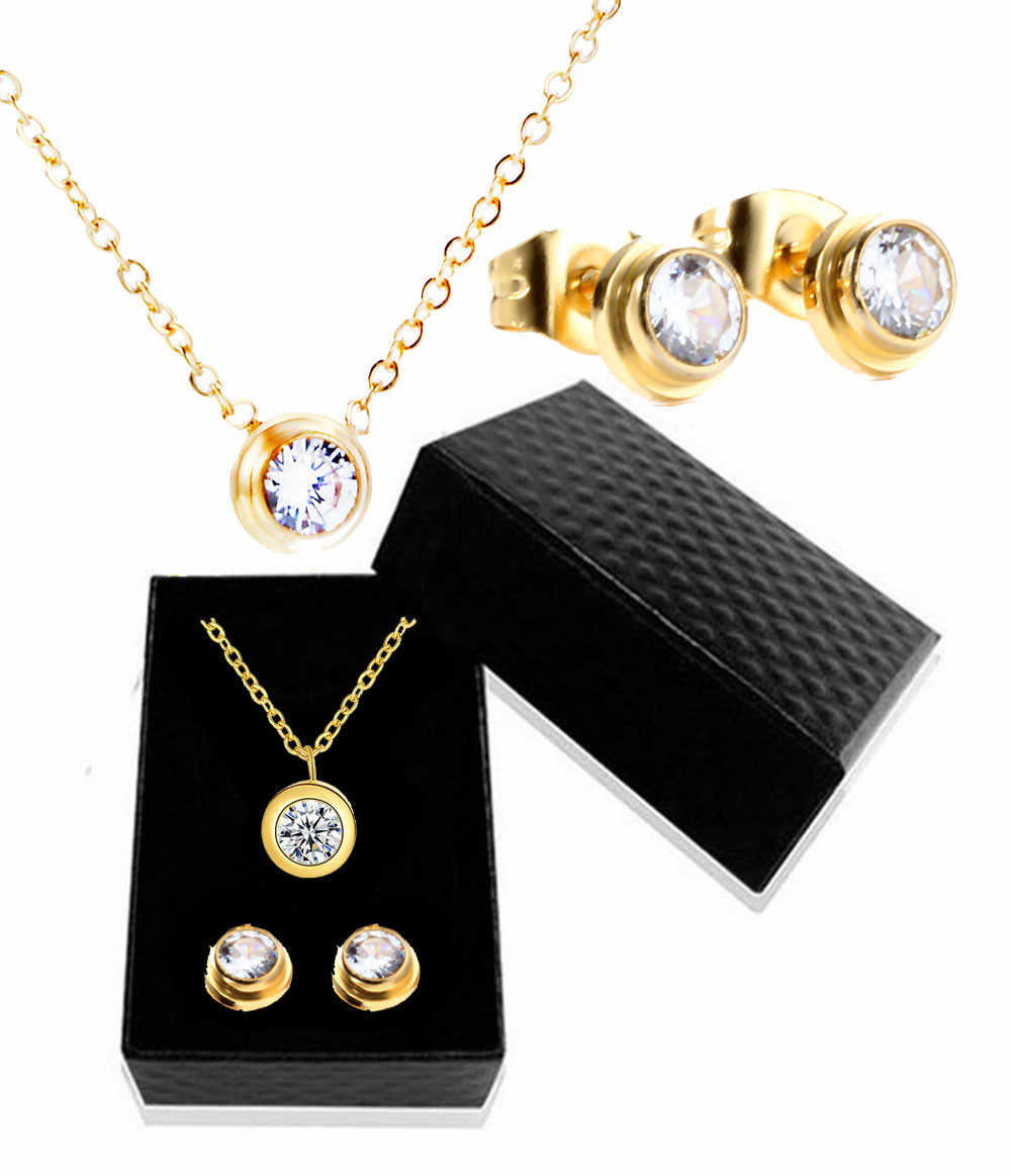 Fashion Simple 316L Stainless Steel Pendants Necklaces Earring Set For Women Gold/Rose Gold/Silver Round Crystal Jewelry Set