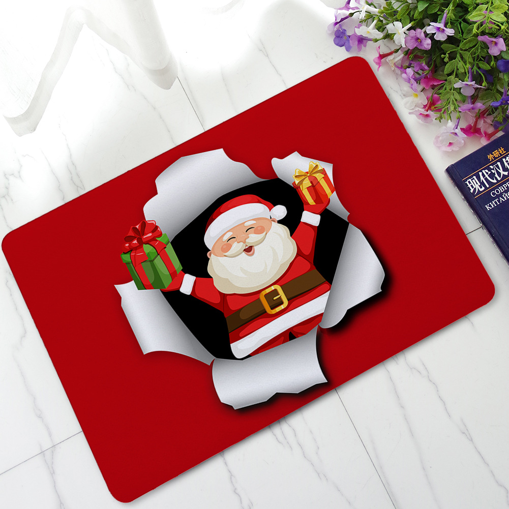 Santa Claus Printed Rubber Mats For The Hallway Dust Proof