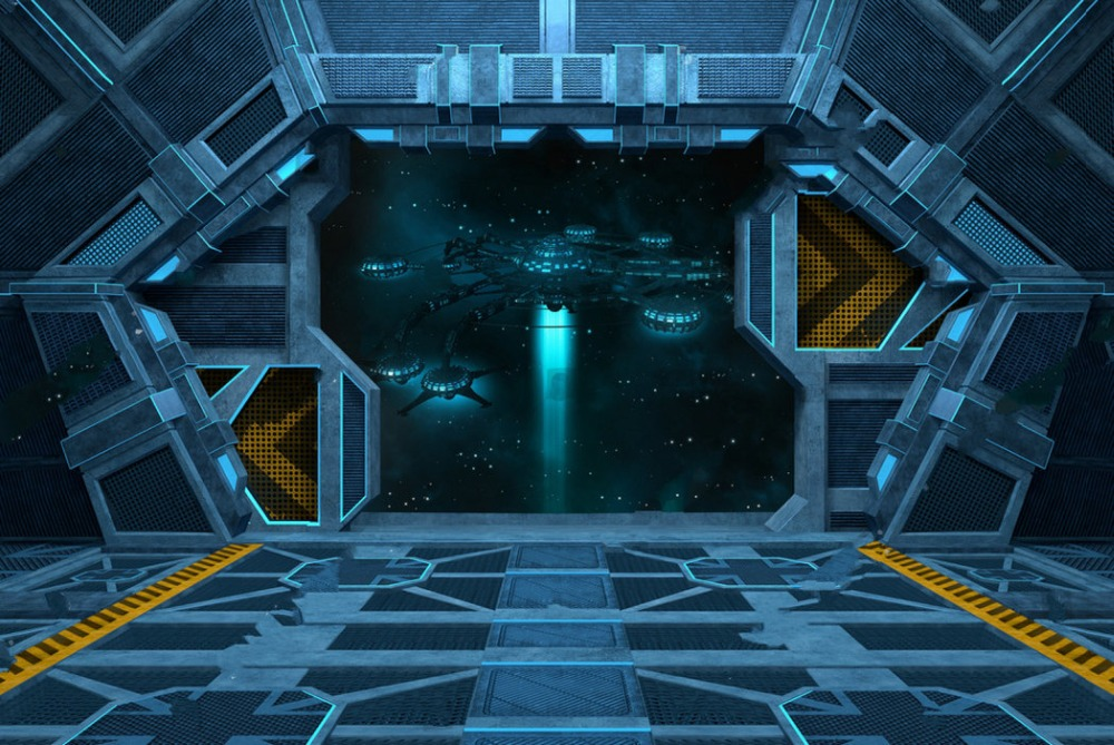 spaceship inside space station interior open doors backdrops vinyl