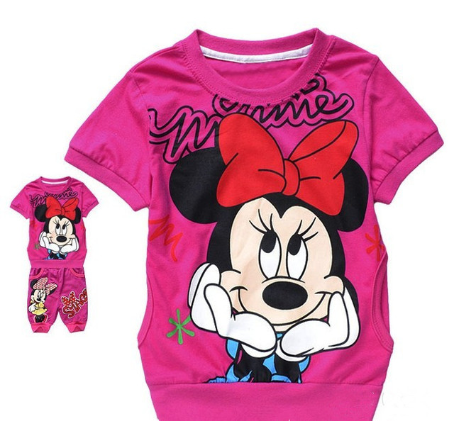 new baby girls cartoon suit  kids clothing set  rose top short pant fit 2-5yrs 6sets/lot free shipping