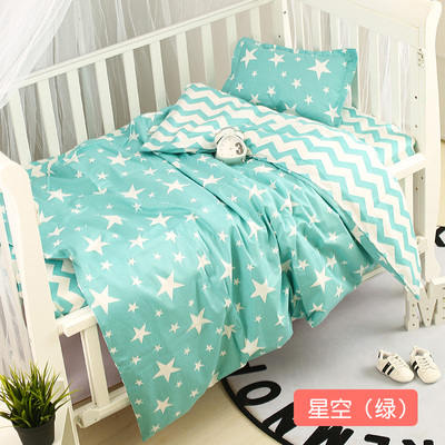 Infant Baby Kids Mint Green Cotton Nursery bedding Breathable Protector Soft Warm cama bebe Duvet/Sheet/Pillow  with filling Bedding Sets     - title=