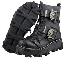 Mens Punk Leather Lace Up Buckle Gothic Motorcycle Combat Boots Shoes New Metal Decor B177