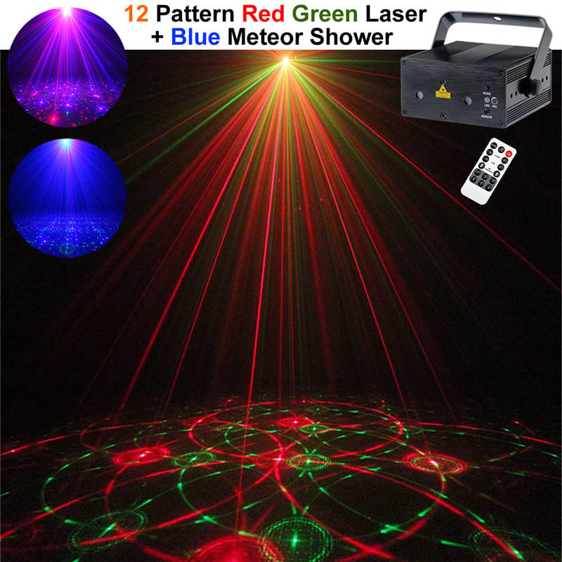 AUCD Mini Remote RGB Full Color Laser Crossover Effect Projector 3W Blue LED Light DJ Party Home Stage Lighting Z12B-RGB300 rg mini 3 lens 24 patterns led laser projector stage lighting effect 3w blue for dj disco party club laser