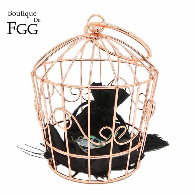 Boutique De FGG Rose Gold Metal Bird Cage Women Fashion Handbags Purse Evening Totes Bags Party Banquet Prom Clutch Bag