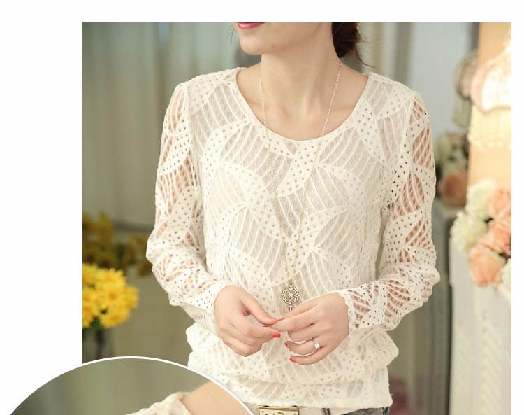 e20306211 ... 2016 White Blusas Women Fashion Long Sleeve Lace Blouse Spring Autumn  Women Plus Size Clothes Crochet ...