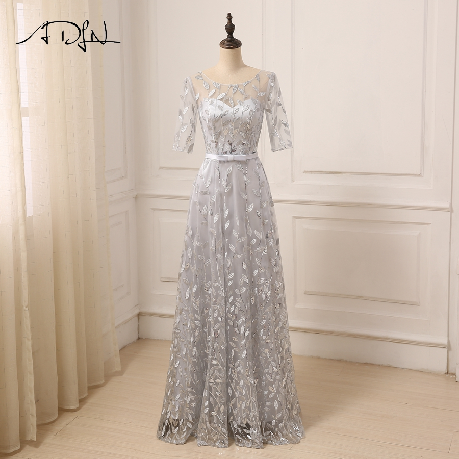 ADLN New Arrival Silver   Prom     Dress   Scoop Neck Three Quarter Sleeves Floor Length A-line   Prom   Party Gowns Long Evening   Dresses