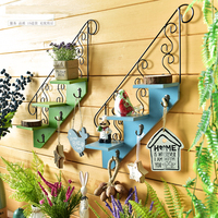 American Postral Style Wooden & Iron Flower Wall Rack Multi use Wall Storage Rack Wall Shelf w/3 Step Decorative Hanger