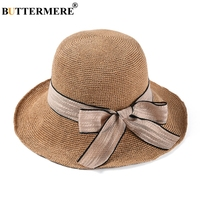 BUTTERMERE Ladies Summer Hats Breathable Straw Summer Hat Women Camel Bowknot Foldable Sun Protection Designer Female Beach Hat