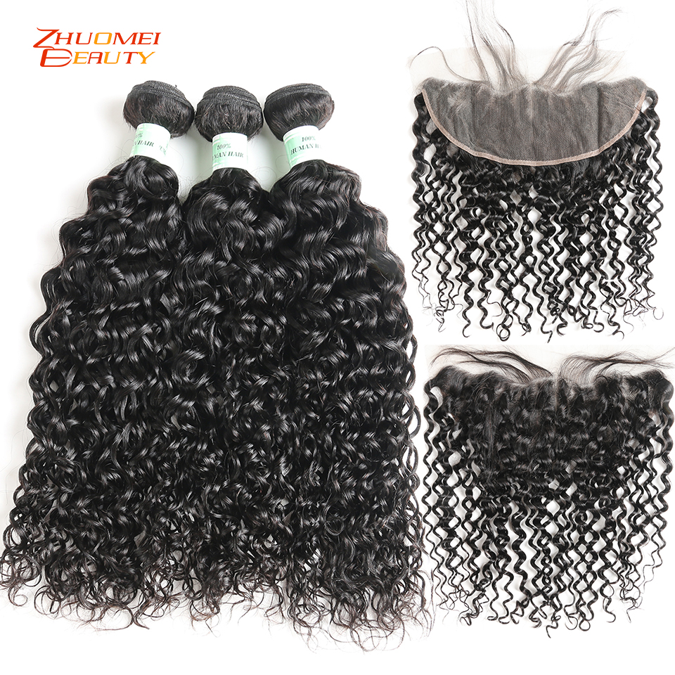 Water Wave 3 Bundles With Closure Remy Hair Lace Frontal With Bundles Deal Peruvian Human Hair