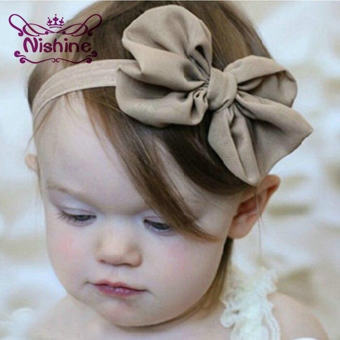 1 шт., милая детская повязка на голову Nishine, шифоновые головные повязки с бантиком, однотонный ободок для волос, аксессуары для волос