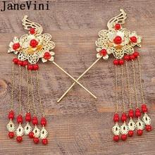 JaneVini horquillas nupciales chinas doradas baratas accesorios para el cabello de boda tocado para novia floral rojo largo borla horquilla 2018