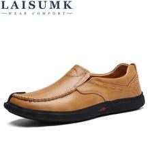 LAISUMK Brand Genuine Genuine Leather Shoes Men Flats Spring Autumn Fashion Slip On loafer Men Casual Shoes все цены