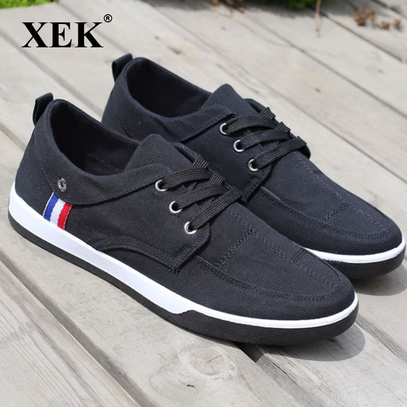 XEK New Fashion Breathable Canvas Men Shoes Lace-Up Solid Flats Spring Autumn Quality Casual Denim Canvas Shoes ZLL184 canvas shoes women casual flats 2017 trendy korean version lace up fashion female spring autumn shoes solid white shoes