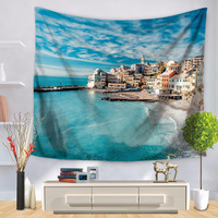 City Scenic Tapestry Mandala Wall Hanging Tenture Murale Blankets Landscape painting tapestry Backgroud Beach mandala tapestries
