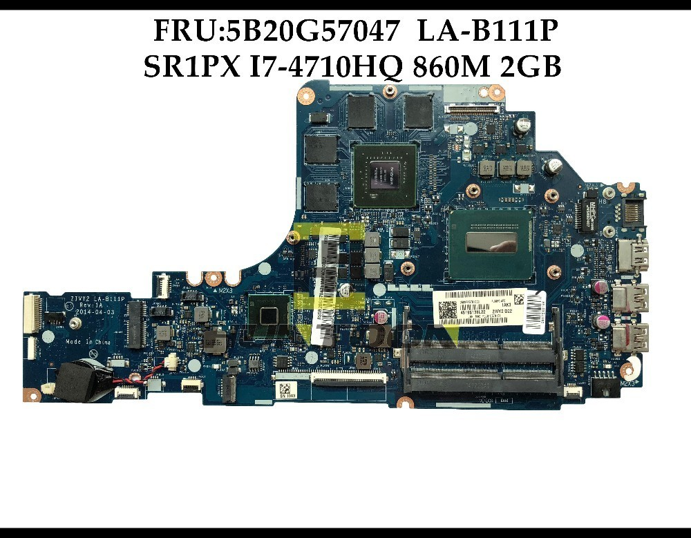 High quality FRU 5B20G57047 FOR Lenovo Ideapad Y50 70 Laptop Motherboard ZIVY2 LA B111P SR1PX I7