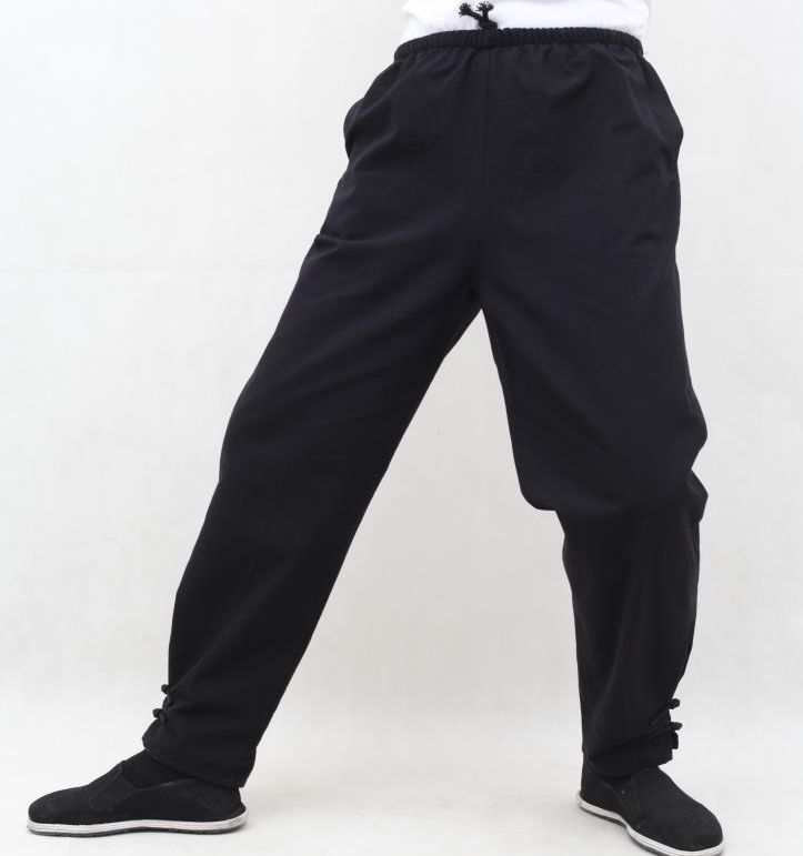 Zwart 100% Katoen Tai Chi Wushu Tang Broek Kung Fu Taiji Bloeiers Zen Lay Kirin Broek Martial Arts Training Broek Bekwame Productie