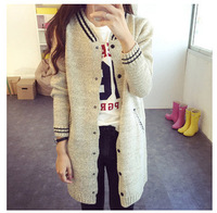 2017 New Coat Girls Long Cardigan Sweater Baseball Uniform