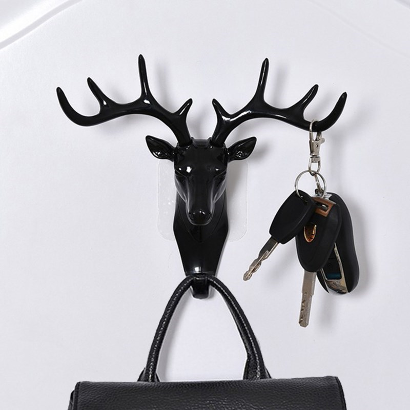 High Quality Vintage Deer Head Wall Hanging Hook Antlers For Hanging Clothes Hat Scarf Key Deer Horns Hanger Rack Wall Decoratio