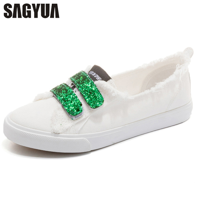 a3ecc2a9b28 US $35.56 |Summer Teens Korean Style Girlish Women Fashion Paillette Female  Casual Comfort Hook & Loop Plimsolls Chaussures Flat Shoes T512-in Women's  ...