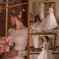 Vestido de noiva 2019 Custom Made Long Sleeves Lace A Line Wedding Dress Sparkly Robe de mariee Beads Pearls Wedding Gowns