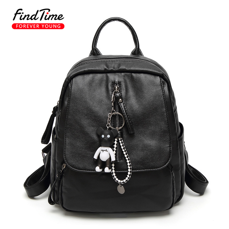 FIND TIME Woman Backpack Woman New Style Fashion Solid Color Mobile Phone Bag Zipper Tidal Current School Style PU Package Hot new time new time n62