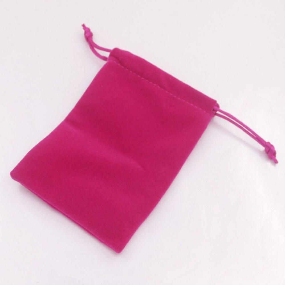 Купить с кэшбэком 1 pcs Velvet Jewelry Gift Bag Pouch Drawstring Pouches Handmade 9cmX12cm Black Brown Pink Choose