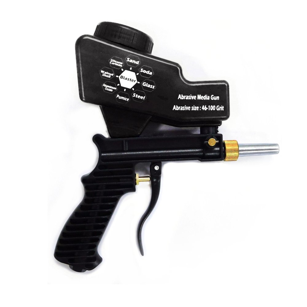 Gravity Feed Sandblasting Gun Air Sandblast Portable Speed Blaster Sand Spray Gun for Rust Removing Sandblaster Black