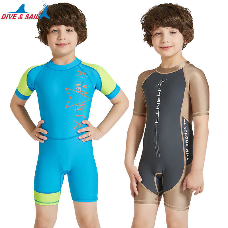 19733afe8a DiveSail kids boys one piece swimsuit boy swimwear Sun Protective children  Rash Guard Costume Bathing Suits
