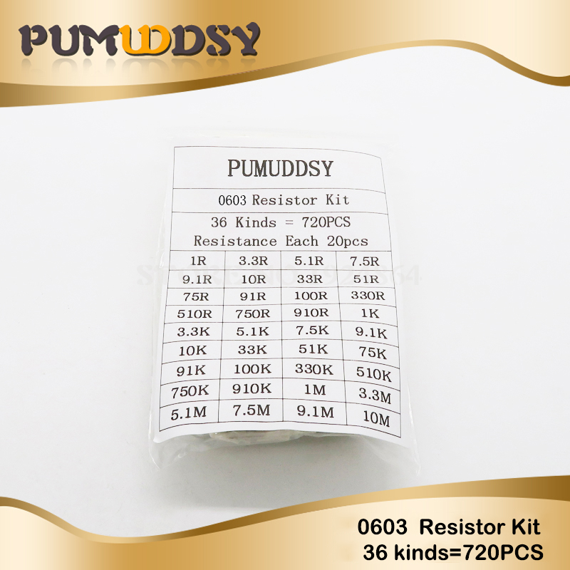36valuesX20pcs=720pcs 0603 1ohm-<font><b>10Mohm</b></font> SMD <font><b>Resistor</b></font> Kit Assorted Kit 1% component diy samples kit new and original image