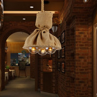 LOFT Retro Linen Decorative Three Head Restaurant Bar Rope Pendant Light