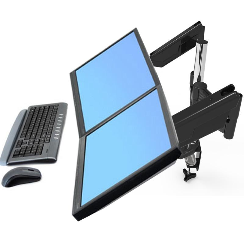 Nouveauté bras à ressort à gaz plein mouvement double écran LED moniteur LCD Support moniteur de bureau Support de montage chargement 1-10kgs chaque bras