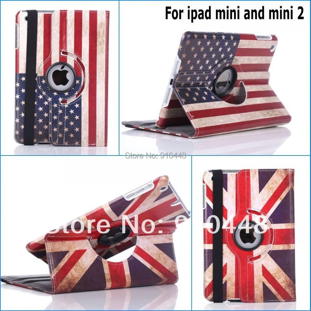 Fashion 360 Rotating Retro USA UK British Flag Folding Book smart cover Hard pu leather stand case for ipad mini 1 mini 2 3