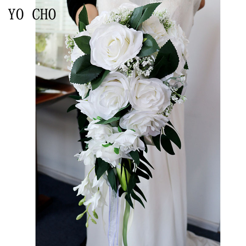 YO CHO Bride Wedding Bouquet Bridesmaid Waterfall Wedding Flower Vintage Rose Flower Marriage Party Supplies Luxurious Bouquet