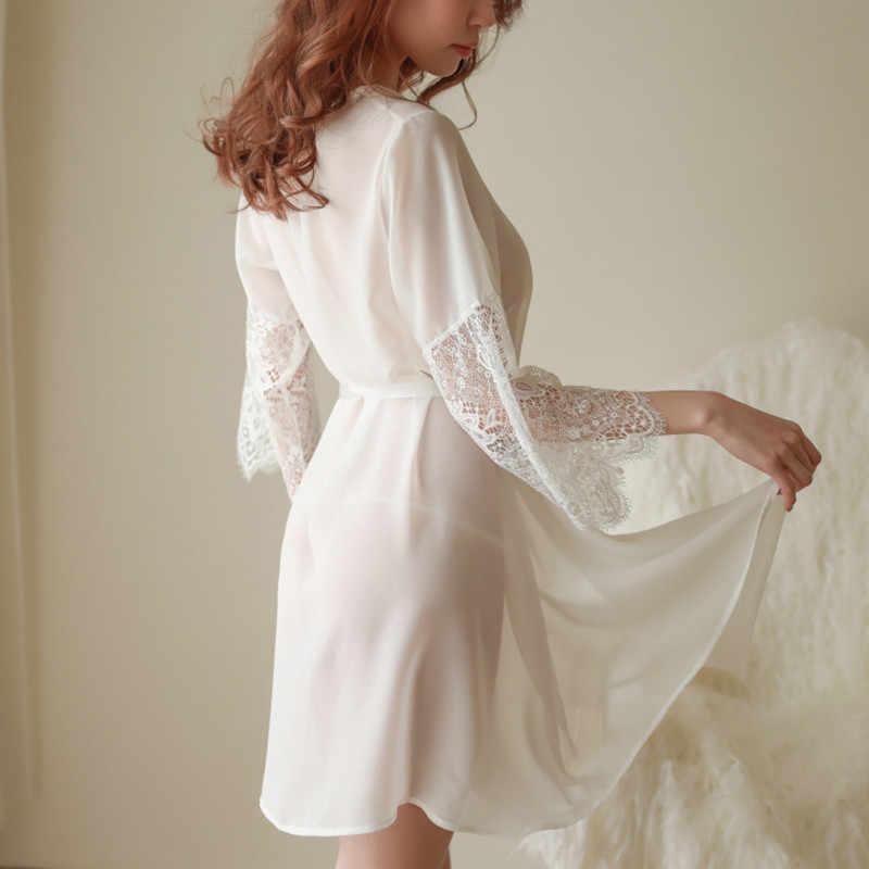(גלימה + T מחרוזת + אבנט) סקסי לילה שמלת דק לראות דרך הלבשת נשי כתונת לילה נשים שינה שמלות חמה לילה תחרה שמלות