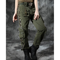 Women Multi pocket Cargo Pants Plus Size Dance Overalls Trousers Large Size Female Military Army Green pants SHIERXI