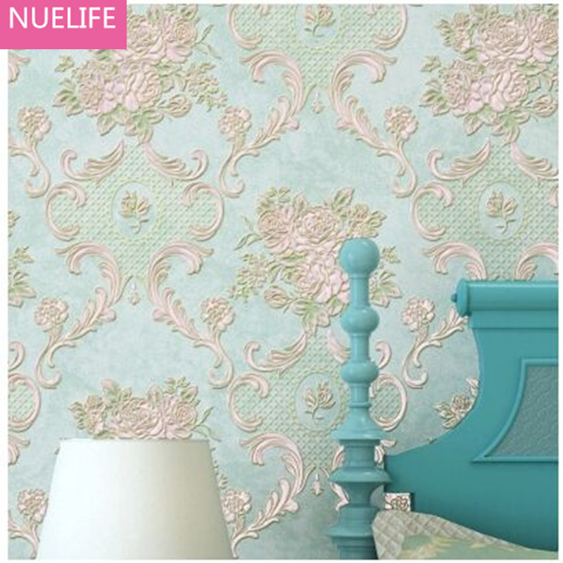 0.53x10m Pastoral Bedroom Floral Pattern Non-woven Wallpaper European Living Room Elegant TV Background Wallpaper N12 elegant m