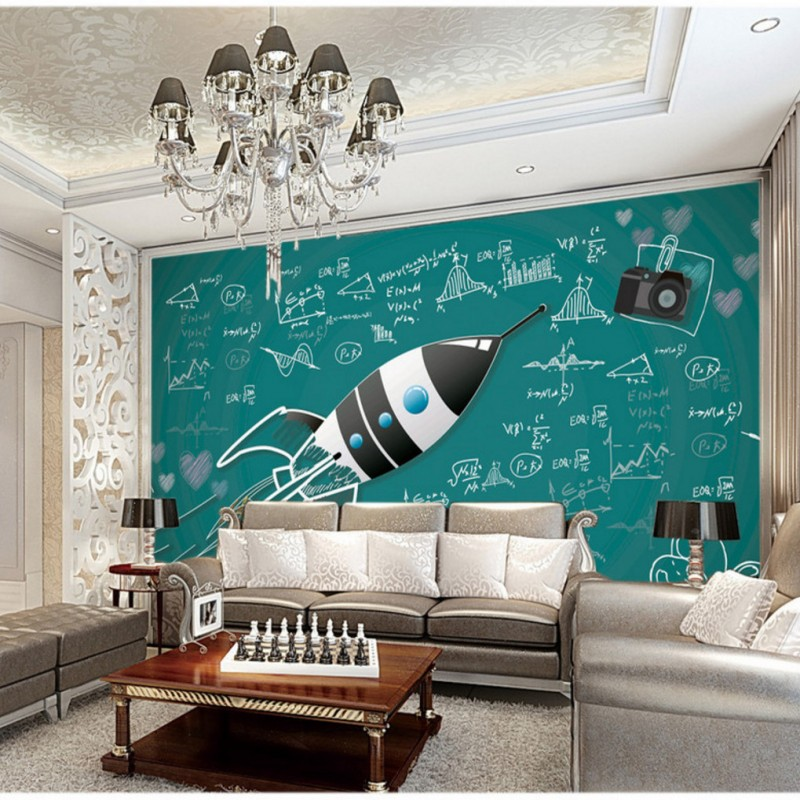 11 55 30 De Réduction 3d Photo Papier Peint Fusée Tableau Noir Peinture Murale Craie Mode Fond D écran Restaurant Personnalisé Mural In Papiers