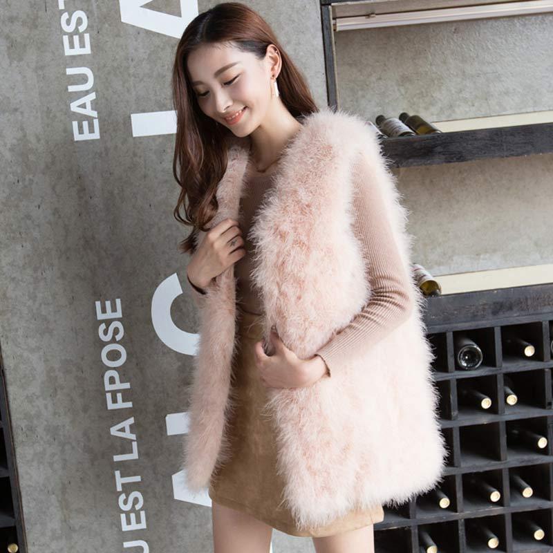 Длинный жилет из натурального меха ручной вязки из натурального страусиного пера, меховой жилет высокого качества из натурального пушистого меха, жилет темно-серого цвета - Цвет: 9 Pink