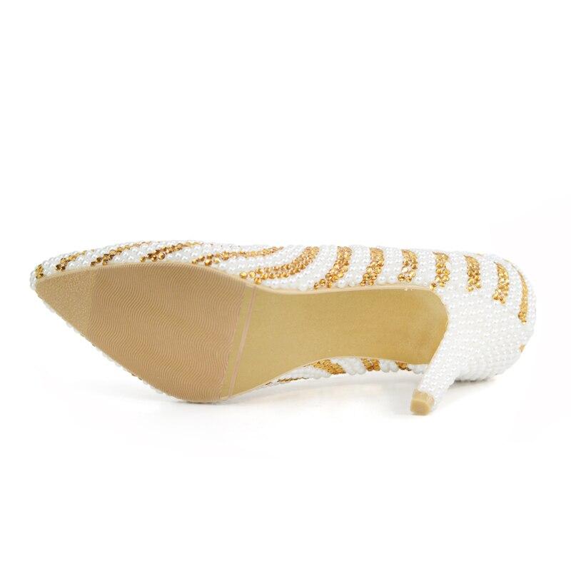 Partie Magnifique With De Talons Mélanger Conception Couleur Commande Moments 8cm Perle D'amour Mariage Or Et White Mariée Faite Cristal Bal Chaussures Gold Sur Blanc 1IUwq74x