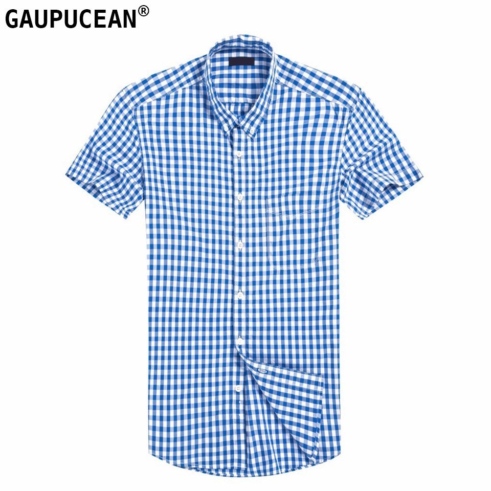 100% Pure Cotton Men Shirt Short Sleeve Us Europe Size Anti-static Quality Male Red Blue Casual Checked Plaid Pocket Man Shirts