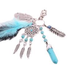 CharmDemon 2016 Bohemia Dreamcatcher Feather Keychain Bag Plush Key Ring Car Key Pendant  jy5