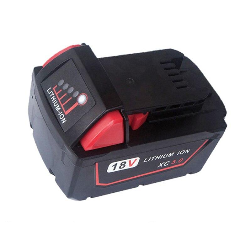 Batterie outil 18 V rouge Lithium haute demande 5.0Ah batterie Rechargeable pour Milwaukee 48-11-1890 M18 batterie outil de remplacementBatterie outil 18 V rouge Lithium haute demande 5.0Ah batterie Rechargeable pour Milwaukee 48-11-1890 M18 batterie outil de remplacement