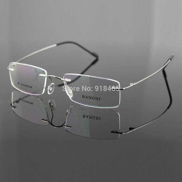 8f1e0b37b3 Beta Titanium Rimless Glasses Hinge Non-screw Flexible Eyeglasses Frames  Men Glasses Prescription Spectacle Optical