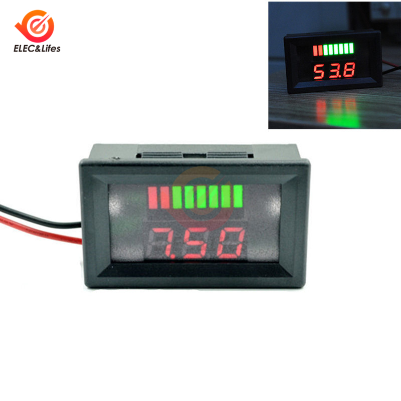 12V Car Lead Acid Battery Charge Level Indicator Battery Tester Lithium Battery Capacity Meter Dual LED Tester Digital Voltmeter