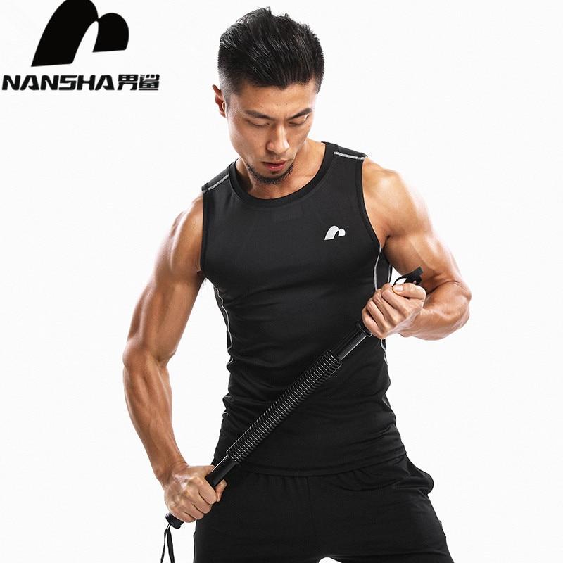 NANSHA 2018 Men Muscle Tank Tops Kompressziós testépítés mellény Ruházat Crossfit Fitness férfiak alsónadrágtartók