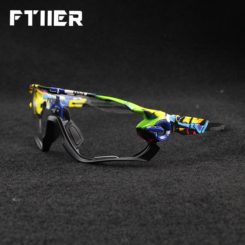 Ftiier Photochromic Polarized Cycling Eyewear Bicycle Glasses Men Women MTB Bike Riding Fishing Goggles Color Changing