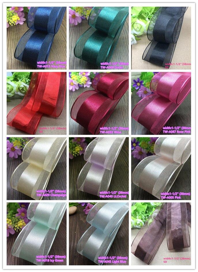 """3-10 Yds Purple Flower Sheer Organza Ribbon 1 1//2/""""W"""